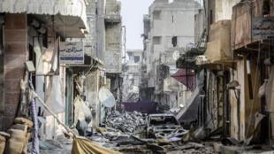 Centro da cidade de Kobani, na Síria, em janeiro de 2015.