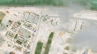 Các công trình xây dựng của Trung Quốc trên Đá Vành Khăn (Mischief Reef) Trường Sa, Biển Đông. (Ảnh vệ tinh do CSIS, ngày 19/06/2017)