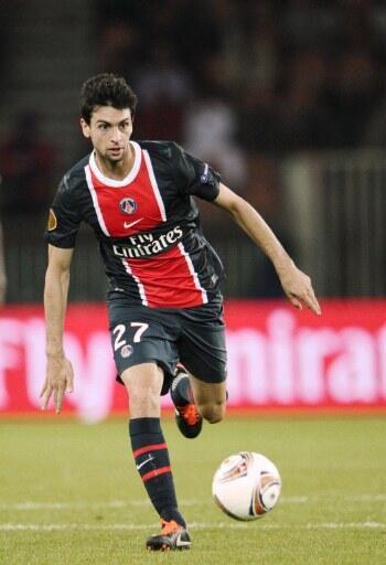 L'Argentin du Paris Saint-Germain Javier Pastore contre le Red Bull Salzbourg (3-1).