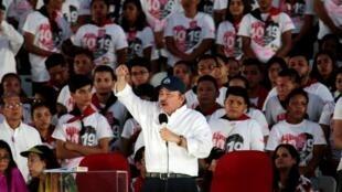 El presidente de Nicaragua, Daniel Ortega durante la conmemoración de los 40 años de la Revolución Sandinista.