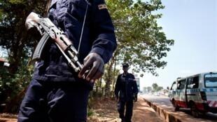 Kampala police patrol ahead of the AU summit