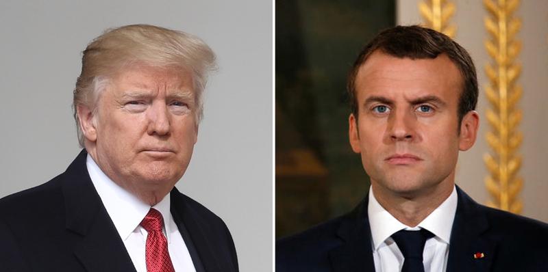 امانوئل ماکرون، رئیس جمهور فرانسه و دونالد ترامپ، رئیس جمهور آمریکا