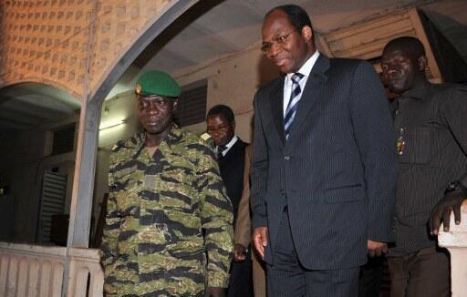 Mali coup leader Amadou Sanogo with Djibril Bassole, Foreign Affairs Minister of Burkina Faso