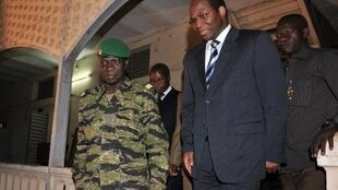 Mali coup leader Amadou Sanogo with Djibril Bassole, Foreign Affairs Minister of Burkina Faso