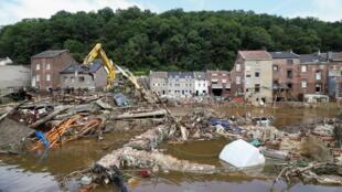 Vista general de un área afectada por las inundaciones en Bélgica.