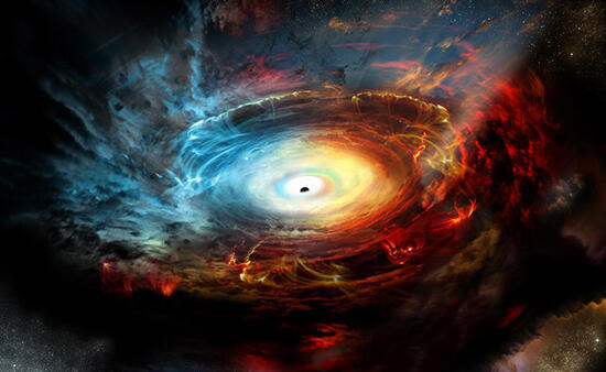 Representación artística del corazón de la galaxia NGC 1068, que alberga un agujero negro supermasivo activo.