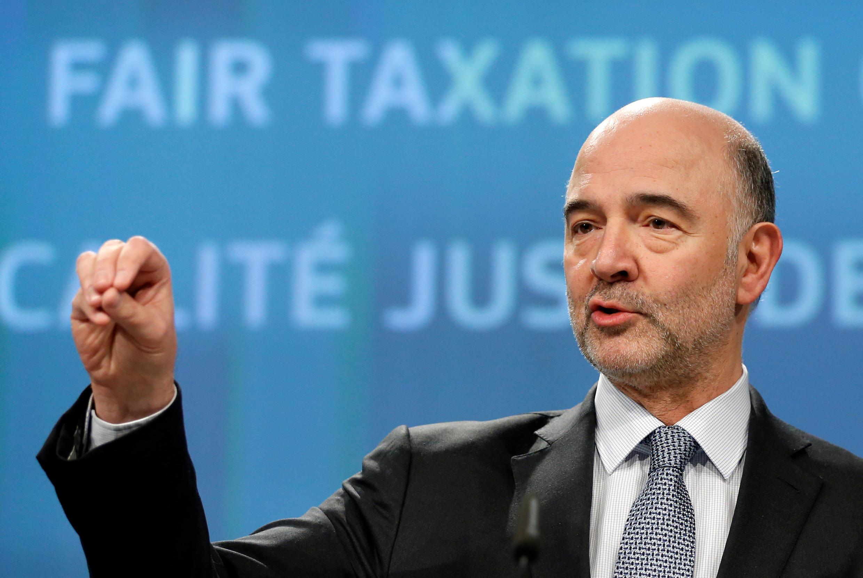 El Comisario europeo de asuntos económicos Pierre Moscovici, presenta el proyecto de imposición en Bruselas, el  21 marzo 2018.