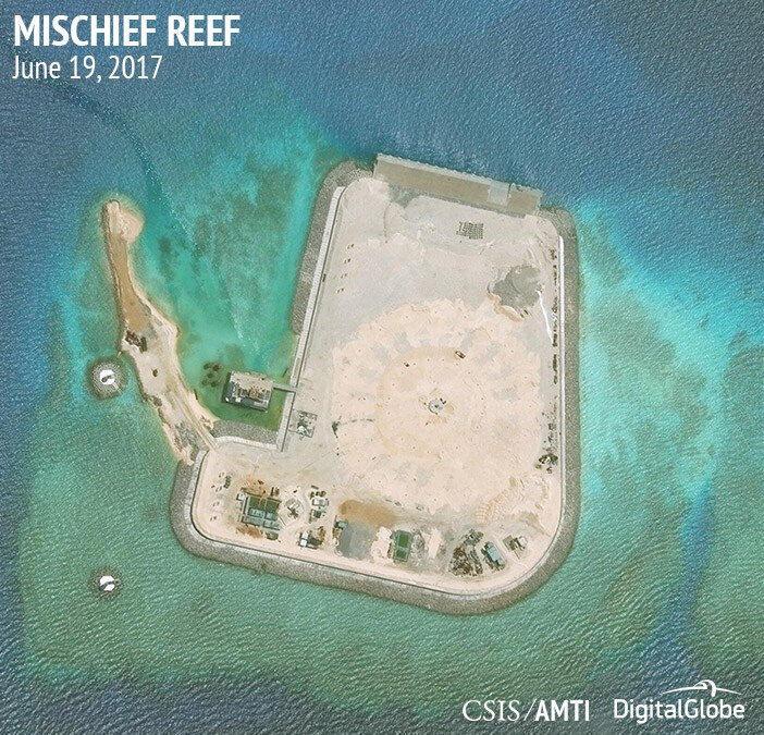 Ảnh minh họa : Đá Vành Khăn - Mischief Reef, Trường Sa. Ảnh chụp qua vệ tinh ngày 19/06/2017.