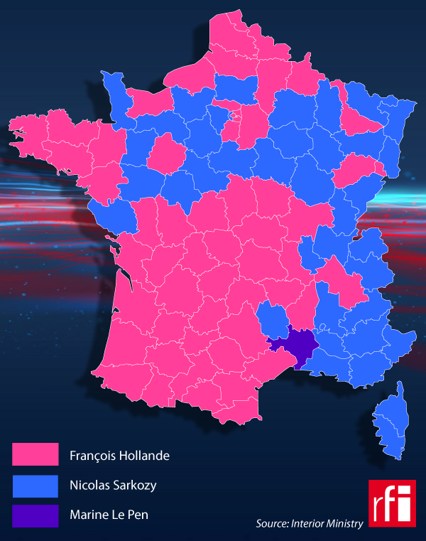Who won where in French presidential first round?