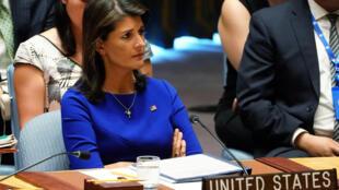 Đại sứ Mỹ tại Liên Hiệp Quốc Nikki Haley ngày 28/08/2018 tại Hội Đồng Bảo An, New York.