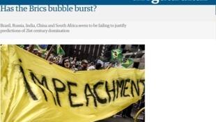O jornal The Guardian ilustrou reportagem sobre crise no Brics com imagem dos protestos no Brasil.