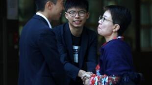 香港眾志秘書長黃之鋒与海怡西區当选议员林浩波(Kelvin Lam)感谢选民的支持,2019年11月25日。