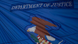 The flag of the US Justice Department, photographed on July 22, 2019 in Washington