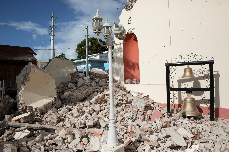 L'île de Porto Rico a été touchée par de nombreux séismes ces derniers jours. Ici, une église endommagée à Guayanilla, 9 janvier 2020.