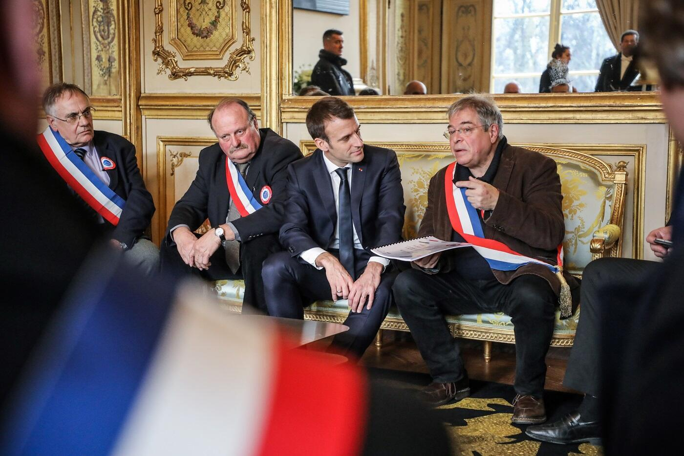 Mayors of rural areas met French president Emmanuel Macron on January 14, 2019 in Paris and handed over the first citizens requests collected on registers available in city halls