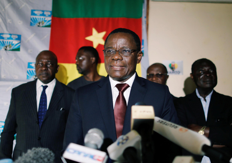 Maurice Kamto lors de la conférence de presse où il a revendiqué la victoire le 8 octobre 2018 à Yaoundé.