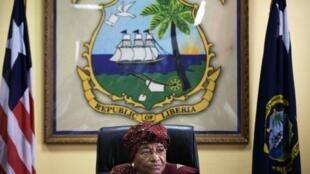 Incumbent Liberian President and this year's Nobel Peace Prize winner Ellen Johnson-Sirleaf
