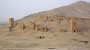 Las tres torres funerarias de Palmira, el 4 de agosto de 2010.