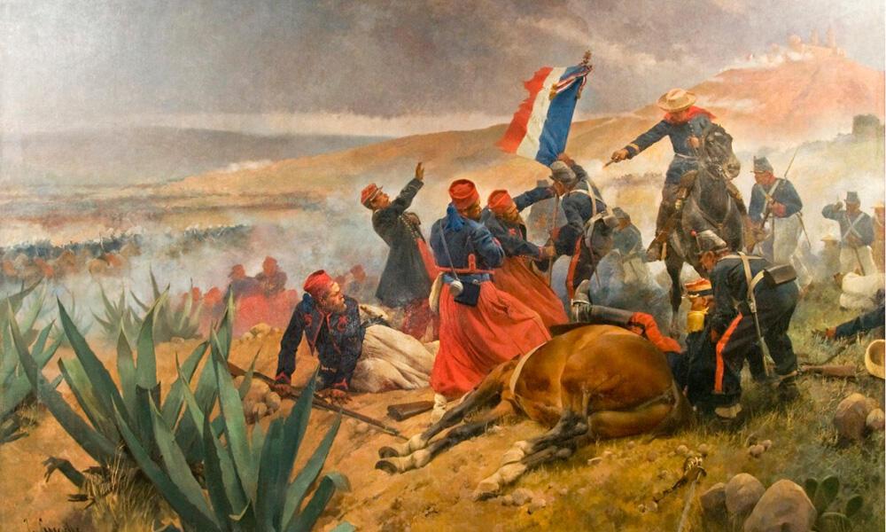 Pintura representando la Batalla de Puebla de 1862, el 5 de mayo.