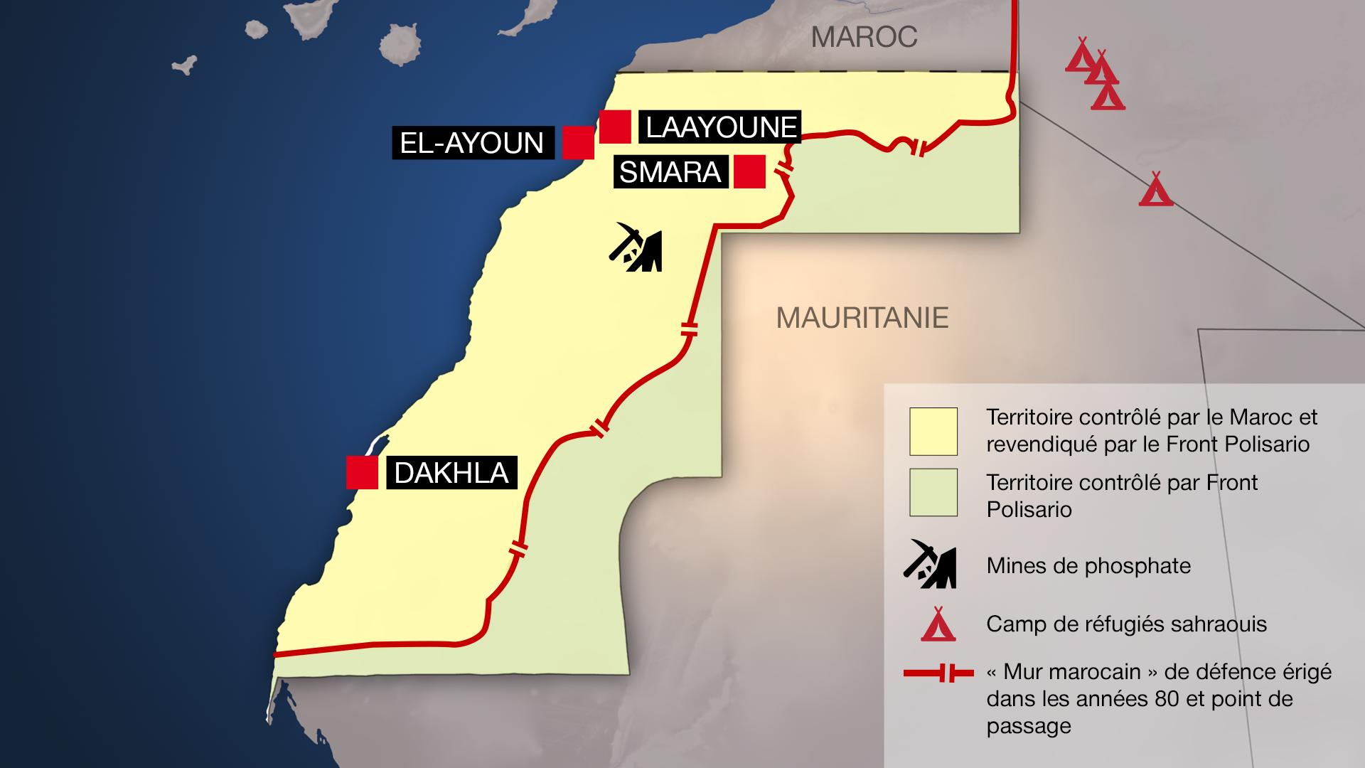 Carte détaillée du Sahara occidental.