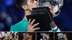 Photomontage des 9 succès à l'Open d'Australie de Novak Djokovic, dont le dernier obtenu le 21 février 2021 (en haut) contre Daniil Medvedev
