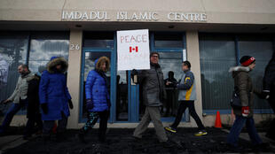 Rassemblement de soutien après l'attaque d'une mosquée de Québec devant le centre culturel islamique de Toronto en Ontario, le 3 février 2017.