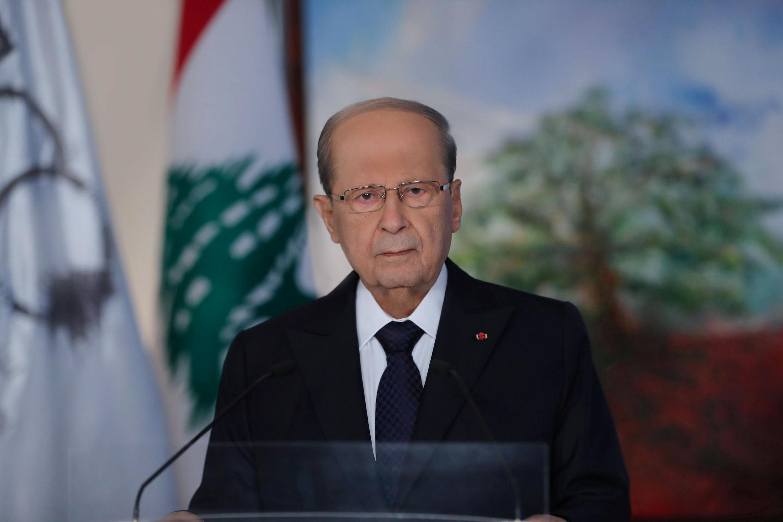 Rais wa Lebanon Michel Aoun wakati wa hotuba yake katika ikulu ya huko Baabda, Agosti 30, 2020.