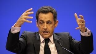 Le président français Nicolas Sarkozy au Congrès des maires de France à Paris, le 23 novembre 2010.