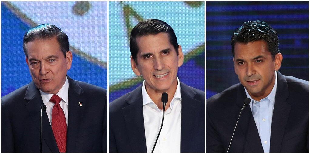Ba ứng viên tranh cử tổng thống Panama (từ trái qua phải) : Laurentino Cortizo (đảng Cách Mạng Dân Chủ), Romulo Roux (đảng Thay Đổi Dân Chủ) và Ricardo Lombana (ứng viên độc lập), trong buổi tranh luận truyền hình ngày 10/04/2019, tại Panama.