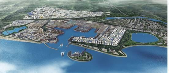 图为斯里兰卡汉班托塔港及港区经济区鸟瞰