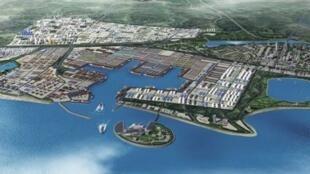 圖為斯里蘭卡漢班托塔港及港區經濟區鳥瞰