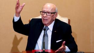 Le président tunisien Beji Caïd Essebsi lors d'une conférence de presse au palais de Carthage à Tunis, le 25 octobre 2018.