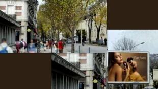 Simulação de ruas de Grenoble sem os painéis publicitários.