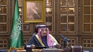 Déclaration du nouveau roi d'Arabie saoudite, Salman, le 23 janvier 2015. à Riyad.
