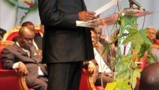 Denis Sassou Nguesso lors de son discours sur l'état de la Nation, le 12 août 2011 à Brazzaville.