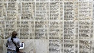 Los nombres de las víctimas de la dictadura de Augusto Pinochet sobre un muro de la capital, septiembre2014.