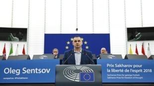 Oleg Sentsov au parlement européen, le 26 novembre 2019.