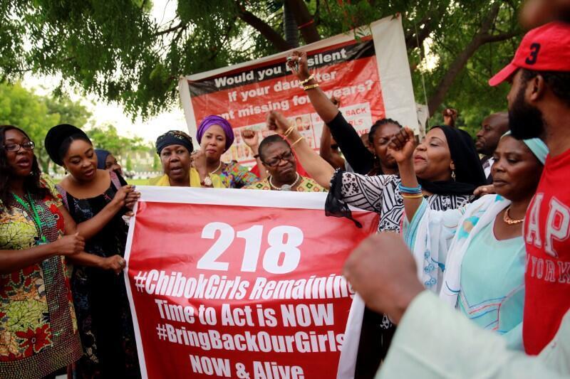 Lors d'une manifestation du mouvement «Bring back our girls», en mai 2016.