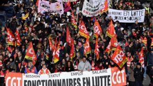 Le cortège syndical de la CGT à Marseille contre la réforme des retraites, le 10 décembre 2019.