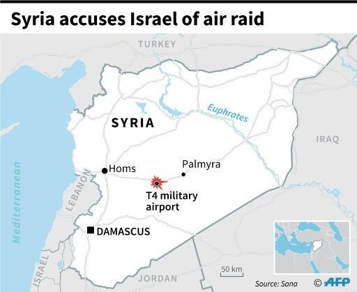 法广存档图片 - Image d'archive RFI : Map of Syria locating the T4 military airport, damaged by an aerial attack carried out by Israel, Syria's state news agency said.