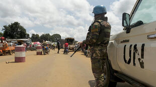 A Bangladeshi UN peacekeeper is seen here in the Central African Republic, near the border with Cameroon -- the country has been mired in years of intercommunal violence