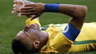 Brazil captain Neymar reacts after his team's goalless draw against South Africa.