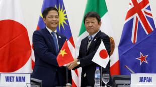 Bộ trưởng Công Thương Việt Nam Trần Tuấn Anh (T) và bộ trưởng Thương Mại Nhật Toshimitsu Motegi, sau cuộc họp báo về TPP tại Đà Nẵng, ngày 11/11/2017.