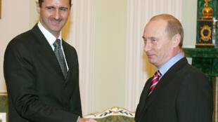 Syrian president Bashar al-Assad here seen with Russien president Vladimer Putin in 2006