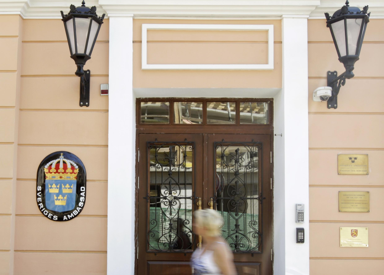 Вход в здание шведского посольства в Минске 08/08/2012 (архив)