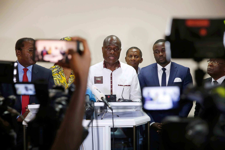 Martin Fayulu mgombea wa urais kupitia muungano wa upinzani Lamuka, akizungumza na Wanahabari Desemba 25 2018 jijini Kinshasa