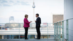 German Chancellor Angela Merkel and French President Emmanuel Macron meet at the Chancellery in Berlin, Germany May 15, 2017.
