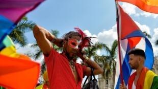 Concentração para a marcha independente do Orgulho Gay em Havana, em 11 de maio de 2019.