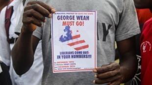 Manifestant anti-Weah lors d'un précédent rassemblement à Monrovia, Liberia, le 19 décembre 2019.