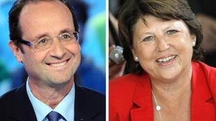 De g. à d. : François Hollande et Martine Aubry, les deux candidats arrivés en tête du premier tour de la primaire socialiste, le 9 octobre 2011.